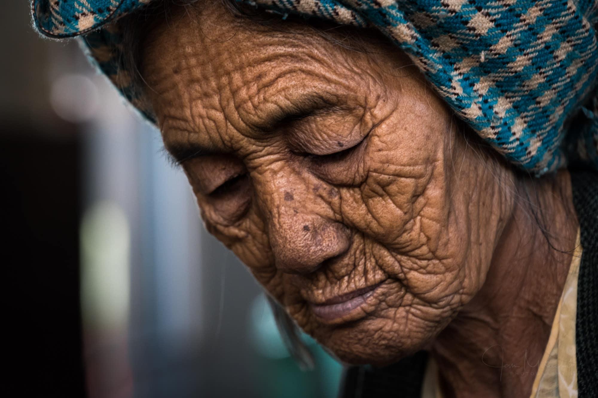 Portrait of an old Burmese woman