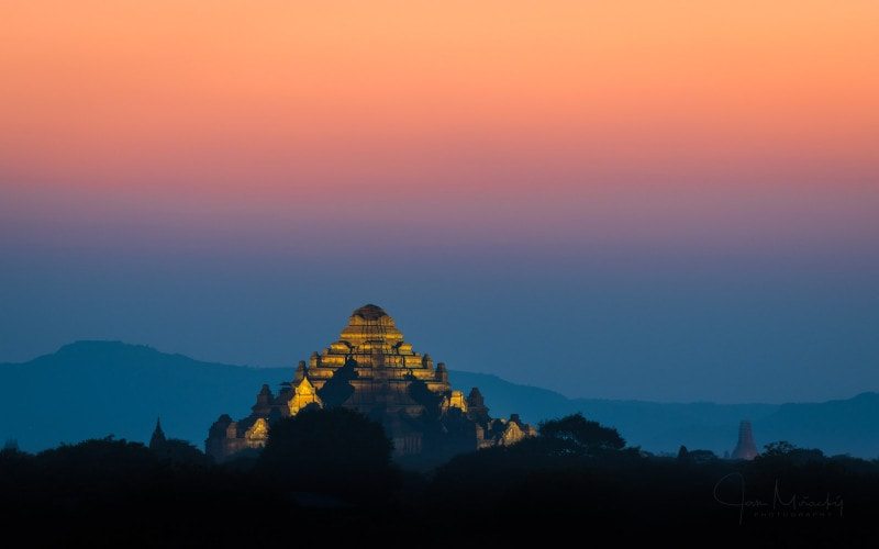Pagoda after sunset in Bagan