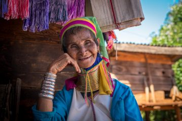 "Old woman from Padaung (""Long-neck"") tribe"