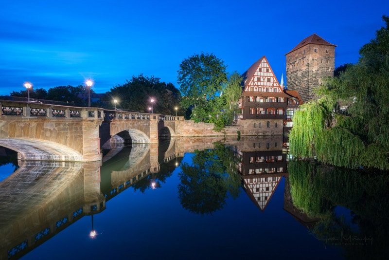 Maxbrücke in Nuremberg, Germany at night