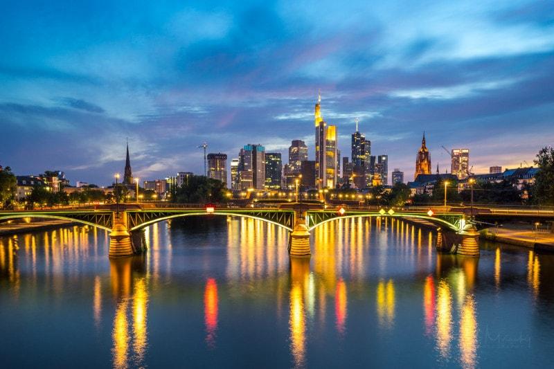 Frankfurt skyline at night