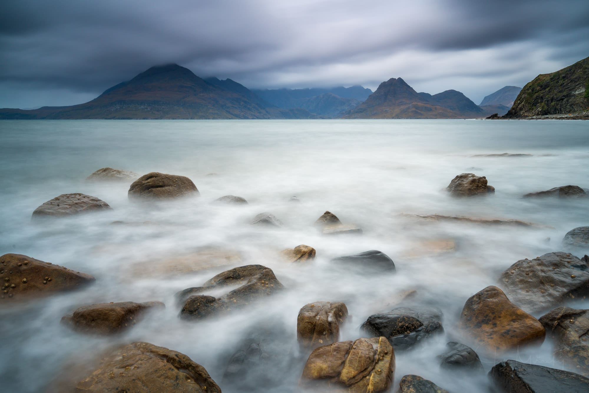 Seascape with Black Cuillins mountains