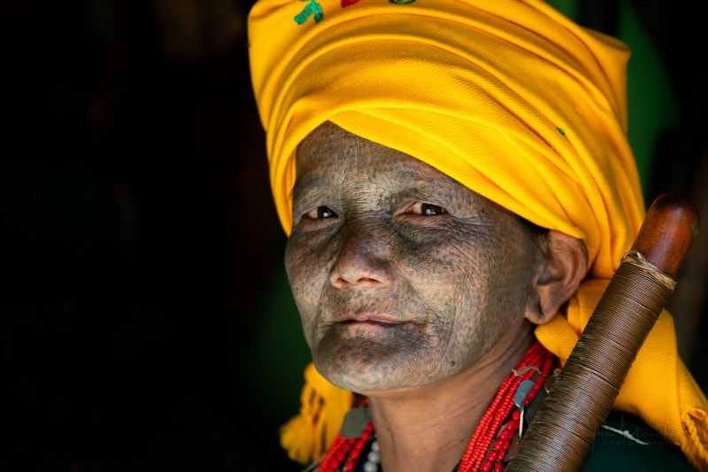 Face-tattooed woman in Chin State, Myanmar