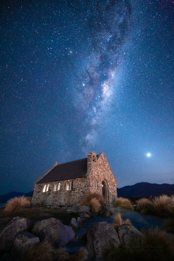 Milky Way at Church of the Good Shepherd, Tekapo, New Zealand