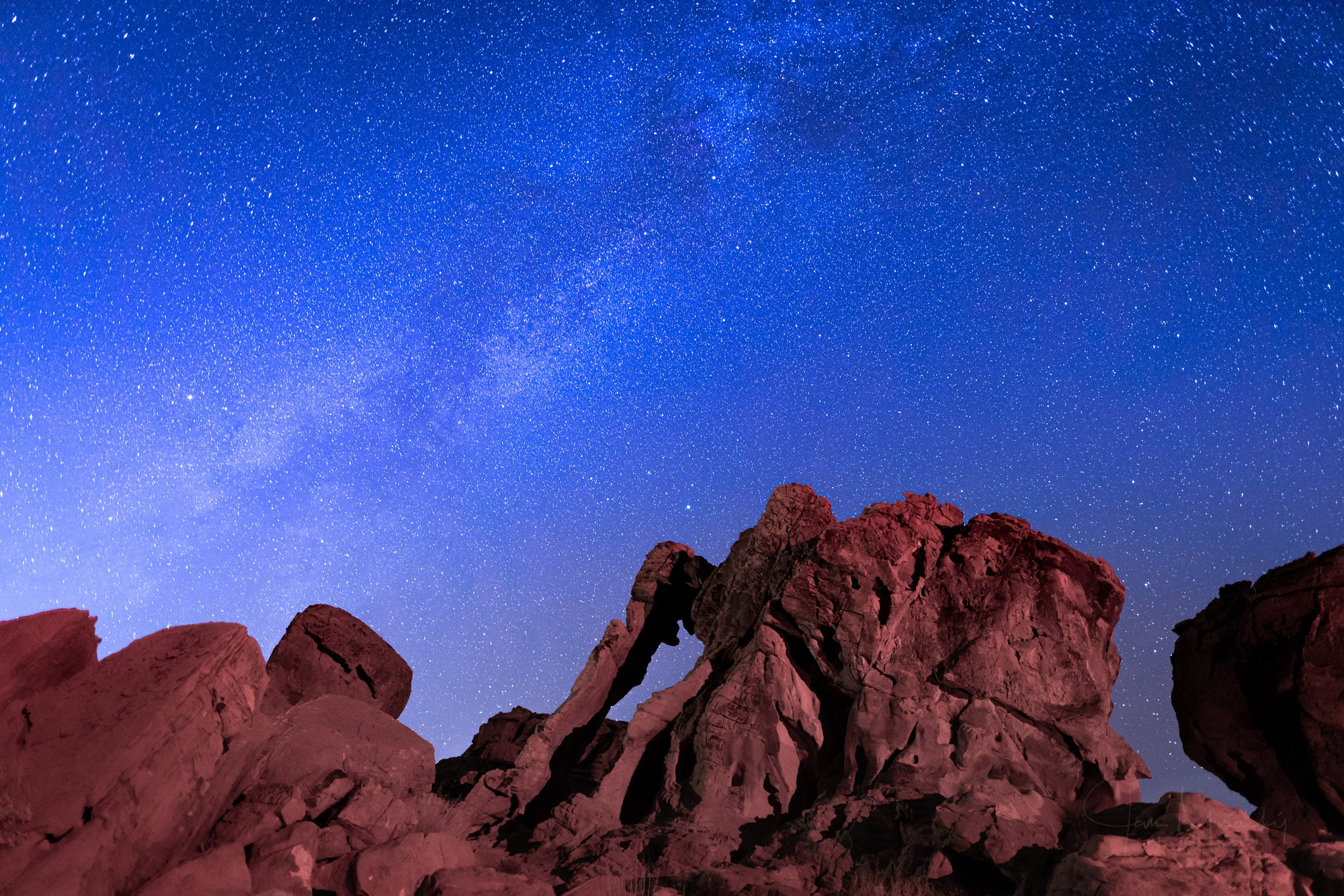 Milky Way above Elephant rock formation, Valley of Fire State Pa