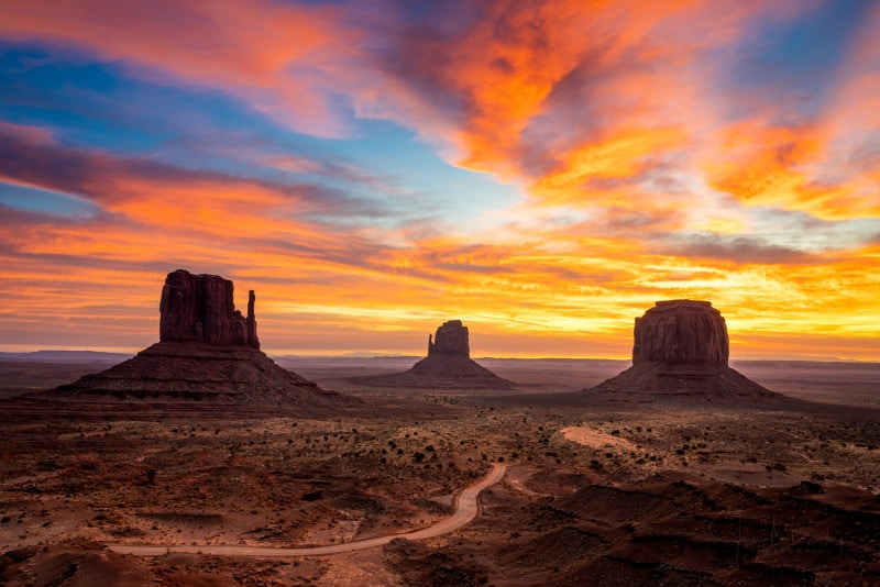 The Mittens in Monument Valley at sunrise