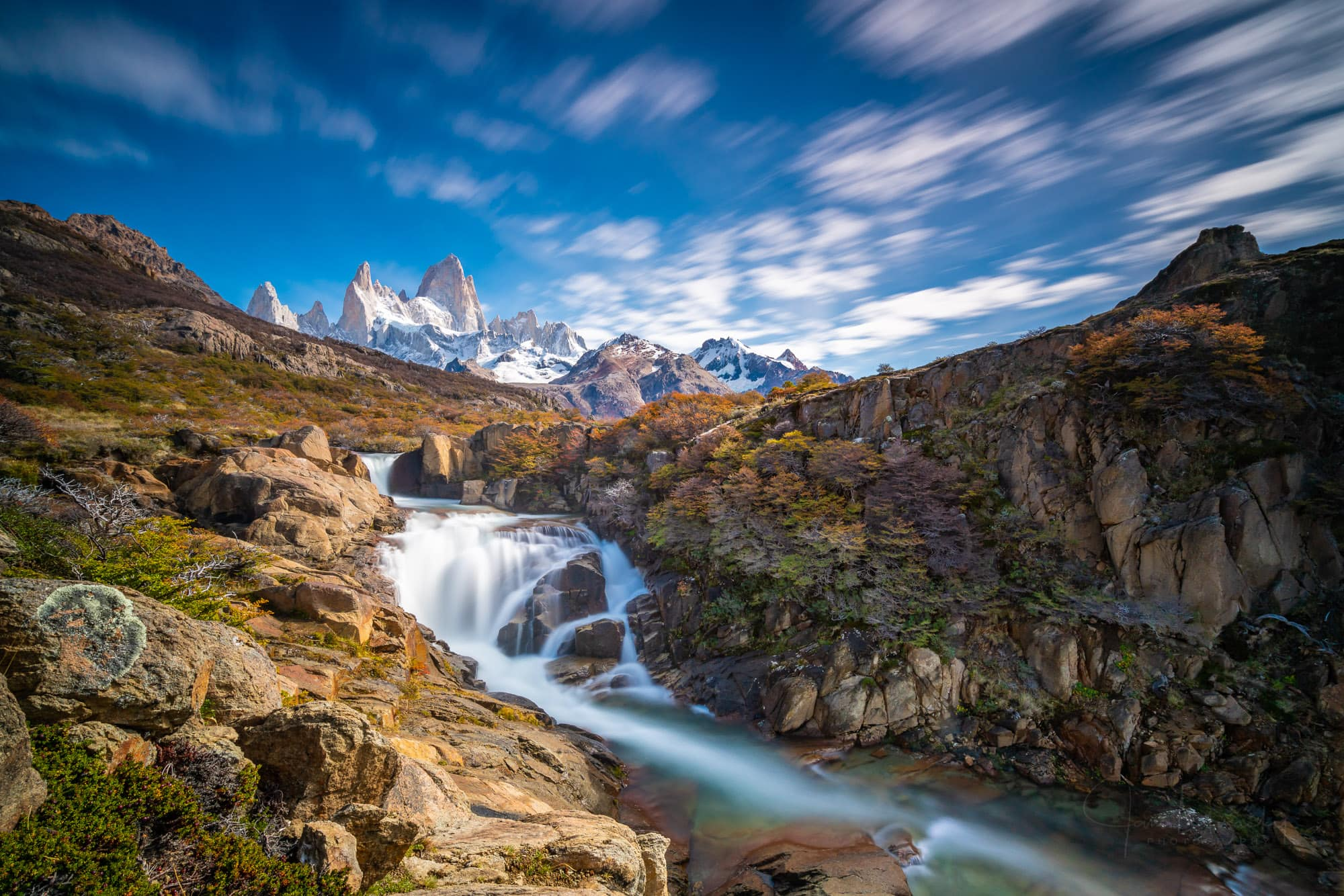 Waterfall and Fitz Roy, Los Glaciares National Park